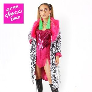 💖Glitter Disco Child Zebra Sequin Festival Jacket